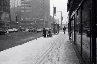 Waiting: Wintry day on King Street, Hamilton