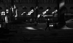 Will I miss my train ? (elgunto) Tags: estacion trainstation barcelona people street blackwhite highcontrast shadows light streetphoto dark bw monochrome silhouettes fujifilm fujix x100s