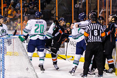 """Kansas City Mavericks vs. Florida Everblades, February 18, 2018, Silverstein Eye Centers Arena, Independence, Missouri.  Photo: © John Howe / Howe Creative Photography, all rights reserved 2018 • <a style=""""font-size:0.8em;"""" href=""""http://www.flickr.com/photos/134016632@N02/40342826482/"""" target=""""_blank"""">View on Flickr</a>"""