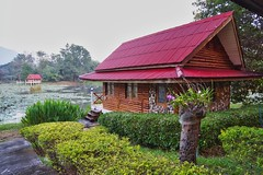 Bungalow by the lake at River Kwai Park & Resort in Kanchanaburi, Thailand (UweBKK (α 77 on )) Tags: bungalow lake river kwai resort hotel garden green hut house vacation nature flora kanchanaburi province thailand southeast asia sony alpha 77 slt dslr park