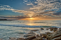 Those are silver, these are gold (JustAddVignette) Tags: australia clouds cloudysunrise dawn freshwaterbeach landscapes newsouthwales northernbeaches ocean rocks seascape seawater sky sunrise sydney water waves