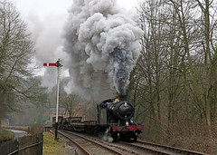 4277 - Consall (Andrew Edkins) Tags: 4277 42xxclass greatwestern gwr churnetvalleyrailway preservedrailway railwayphotography semaphoresignal canal geotagged canon overcast light consall staffordshire england uksteam exhaust