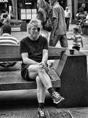 (Anne Worner) Tags: anneworner mono monchrome blackandwhite bw street streetphotography candid man sitting smoking cigarettes eyepatch bench outdoors outside olympus em5 matches nikes bergen norway