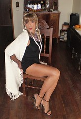 Karen (Karen Maris) Tags: tg tgirl tgurl karen legs heels tranny trannie transvestite transsexual transgender blonde pantyhose sheer tights crossdress crossdresser sandals
