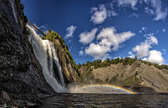 panorama Cascade de Montmerency (wimvandemeerendonk, back from Lofoten) Tags: cascadedemontmerencyquebec cascade fall falls waterfalls montmerency quebec wimvandem water outdoors outdoor sky clouds blue contrast landscape mountain nature panorama park rock rocks river sony tree trees waterfall