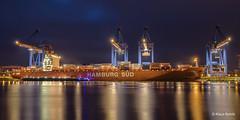 Hamburg Süd - 02011801 (Klaus Kehrls) Tags: schiffe containerschiffe hamburg hamburgerhafen spiegelung nachtaufnahme kräne