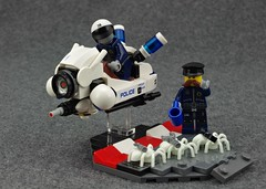 Prelude: Departing the Station (Deltassius) Tags: lego speeder bike enforce police flying motorcycle droid ai robot cop