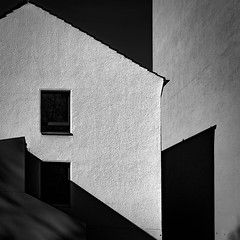 neighbours (morbs06) Tags: cologne köln abstract architecture city facade geometry light lines shadow square stripes urban roof texture bw