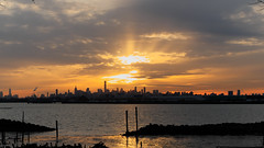 Found Sunshine on A Cloudy Day (Lojones13) Tags: skyline newyorkcity sunset clouds eastriver orangesky inlet outdoor bronx rays sun beautiful skylight city water sky