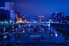Night in Düsseldorf (Moustafa Kzaiha) Tags: night longexposure dusseldorf germany blue reflection lights sky buildings city boats europe outdoors calm hdr