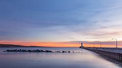 Fading sunrise colors! (karindebruin) Tags: america blauw clouds colors canalpark duluth kleuren leefilters lake lakesuperior meer minnesota amerika nd06hardgrad pier sky sunrise vuurturen wolken zonsopkomst usa lighthouse