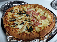 Reheated Domino's Pizza. (dccradio) Tags: lumberton nc northcarolina robesoncounty samsung galaxy smj727v j7v cellphone cellphonepicture monday afternoon inside indoors pizza leftover leftovers pizzapie round circle foil stovetop reheated reheat food eat dominos crust lunch dinner supper snack