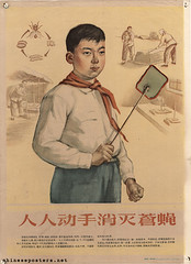 Everybody must get to work to eliminate the houseflies (chineseposters.net) Tags: china poster chinese propaganda 1956 boy pioneers fly swatter