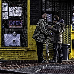 """Friendship Multiplies The Good Of Life And Divides Hardships"", Martin Luther King Jr. Avenue, Historic Anacostia, Washington, DC (Gerald L. Campbell) Tags: red streetphotography street squareformat spirituality spiritualindifference socialdocumentary alienation aloneness blackmale citylife color community dc digital historicanacostia indifference injustice inequality love life martinlutherkingjravenue urbanphotography urban unitedstates washingtondc yearning yeswecan canonsx60hs"