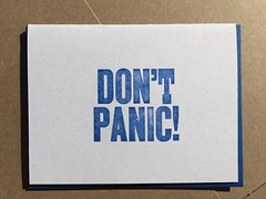 Don't panic in blue (artnoose) Tags: geek nerd scifi galaxy guid hitchhikers panic don't envelope greeting note card etsy letterpress type metal blue