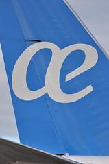ae (A380spotter) Tags: tail tailfin verticalstabiliser empennage horizontalstabliser elevator tailplane tailcone rudder boeing 737 800 800w ecmkl 30años decals decal stickers sticker aireuropa aea ux ux1014 lgwmad apron gate5 stand05m pier1 southterminal london gatwick egkk lgw