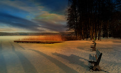 Park. (augustynbatko) Tags: park landscape nature lake benches trees snow ice sky clouds shadows