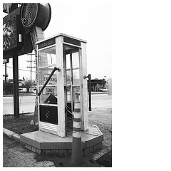 Our work is with the fight for success (Timothy C Lefkowitz) Tags: x100 fuji film black white san antonio texas telephone booth pay phone austin highway