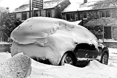 My Snow Beast! (Missy Jussy) Tags: car qashqui nissan snow stormemma beastfromtheeast drifting winter newhey mono monochrome blackwhite bw blackandwhite outdoor outside street village rochdale landscape england unitedkingdom britishweather
