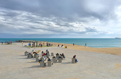 perfect place (poludziber1) Tags: street skyline sky sea spain city colorful cityscape color colorfull clouds blue barcellona people beach travel