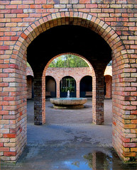Arches (Mary Faith.) Tags: 13 brick arch fountain hamilton gardens nz reflection