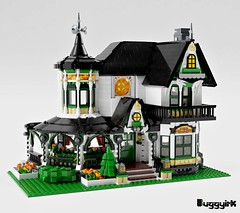 LEGO Ideas Victorian Dream Home - exterior left corner logo (buggyirk) Tags: building whimsical district creator house queen victorian modular buggyirk historic architecture historical home anne dream lego afol moc dark purple lavender lilac magenta city fireplace exterior garden turret tower gable finial stained glass window porch brick built stairs pillar flower tree bush ideas legodreamhome fantasy whimsy miniature cottage sky mecabricks