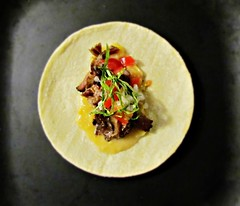 Slow Braised Beef Rib Taco (Robert C. Abraham) Tags: food taco tacos mexico mexican meat meals tortilla beef tomato onions corn puree chiffonade snack braised slowcooked slowcooker fresh handson beefrib tender lime r0mainelettuce homemade corntortilla realtaco