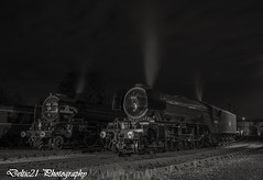 20170919-IMG_5922-Edit (deltic21) Tags: barrow hill barrowhill preserved preservation steam br britishrail british brgreen rail railway railways retro engine lner night nocturnal canon charter photographic photocharter photoshoot photo names nameplate a1 a3 flying scotsman tornado yard lights mono monochrome