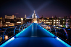 Millenium Bridge and Sct Pauls (Jacob Surland) Tags: architecture art blue bluelight bridge building cathedral caughtinpixels city citybynight cityoflondonschool cityscape clouds colors country england fineart fineartphotography geometry greatbrittain hdr highdynamicrange jacobsurland light lightbeams lights lines london milleniumbridge night oldbuilding realismdigitalart school sctpaulscathedral stars time uk unitedkingdom warmlight water