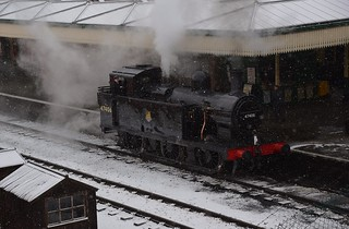 LMS Jinty 47406 at Loughborough, on a positioning move. Great Central Railway. 21 01 2018