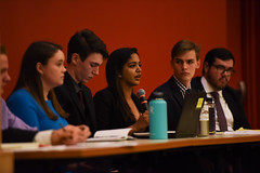 SGA Debates 2018-19 (dailycollegian) Tags: carolineoconnor sga debates hosted by collegian commonwealth honors college events hall event roots candidates for president vice trustee jiya nair