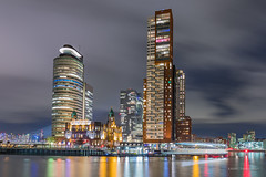 Rotterdam (karindebruin) Tags: thenetherlands nederland zuidholland rotterdam reflectie reflection nacht city stad colors kleuren demaas hotelnewyork night kopvanzuid