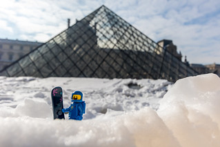 Benny at the Louvre in winter