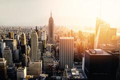 New York sunset (framedbythomas) Tags: landscape cityscape city view viewpoint urban sunset new york manhattan rock empire state building skyline travel travellocations flare sun sunrise architecture