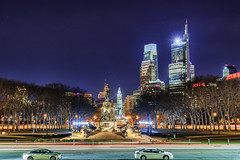 Sunday Night in Philadelphia (Brentg33) Tags: ifttt 500px city downtown night tower architecture cityscape skyline skyscraper sony alpha long exposure landmark life architectural philadelphia street light hall clock building exterior nightscape district town square nighfall phila