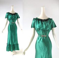 1930s emerald green liquid satin gown with floral appliques and belt (Small Earth Vintage) Tags: smallearthvintage vintageclothing vintagefashion dress gown 1930s 30s emeraldgreen liquidsatin belt flowers eveninggown