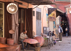 (Bantamgirl) Tags: morocco marrakech working artisan hammer metal metalwork souk medina tradition traditional busy handmade