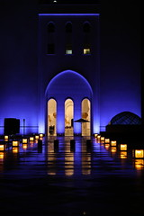 Grand Mosque, Abu Dhabi, UAE. Exterior view. (Subrata_AD) Tags: canoneos5dmarkiv canonef85mmf12liiusmlens primelens architecture monument stilllifephotography outdoorphotography lighting nightphotography seikhzayedmosque grandmosque mosque placestoseeinabudhabi thingstoseeinabudhabi uae abudhabi