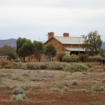 Hammond Ghost town on the Willochra Plains. Part of the wooden platform on the railway station of 1881 and the station masters house. thumbnail