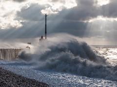 Sea spray (shutter_eyeland) Tags: sea wind storm cloud wave seaspray seascape light sky sunrays