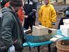 Class with Uncle Mud (lady-ursula) Tags: rocketmassheater heattransferclass burnchamber firebrick preparation design uncle mud