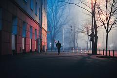 Deluxe (ewitsoe) Tags: fog smog mist haze street urban cityscape warsaw ochota ewitsoe sidewalk travel trams walking canon eos 6dii lights hazy winter chilly warszawa poland visit