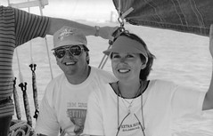 1992 Gill and Ian at the Gold Coast, Queensland, Australia (Gillian Everett) Tags: sailing 7daysofshooting week32 allyourheartdesires blackandwhitewednesday
