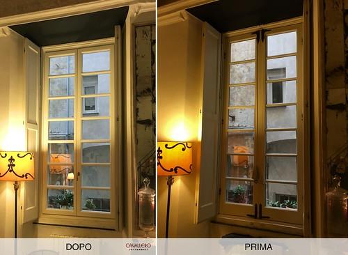 Finestra Linea Classica con inglesina e con scuri interni - prima e dopo