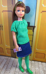 At the movies (Foxy Belle) Tags: skipper doll handmade felt clothing sew diy vintage little sister winter leggings boots recycled ankle skirt