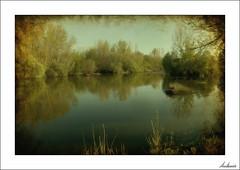 En un rincón del otoño (V- strom) Tags: landscape paisajes sony agua water árbol tree texturas textures dream unsueño otoño autumn verde green grove río river viñeta nikon nikond700 nikon2470 light luz reflejos highlights