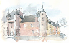 Trécesson, Morbihan, France (Linda Vanysacker - Van den Mooter) Tags: watercolor watercolour visiblytalented vanysacker vandenmooter tekening sketch schets potlood pencil lindavanysackervandenmooter lindavandenmooter drawing dessin croquis crayon art aquarelle aquarell aquarel akvarell acuarela acquerello kasteel château castle manoir frankrijk france trécesson morbihan