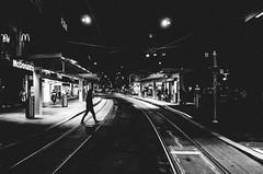 spirit in the night (matthias hämmerly) Tags: switzerland candid street streetphotography shadow contrast grain ricoh gr black white bw monochrom monochrome city town urban blackandwhite strasse people man monochromphotography dark zürich zuerich rain lonely cold winter swiss einfarbig linien gebäude tram station night woman