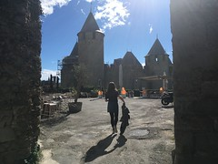 Shadows in the city (bethany-j-hirst) Tags: clouds sky bluesky hot hit got carcassonne castle castke behind shadows sun travelling travel camera bag shadow summer skirt girl france french