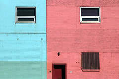 street seen (oldogs) Tags: color brick blue green pink red windows building painted colorful